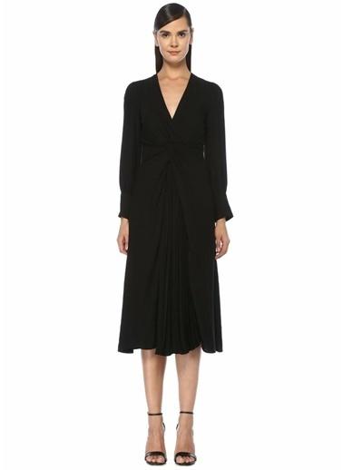 Sandro Sandro Minella  V Yaka Önü Düğümlü Midi Elbise 101448441 Siyah
